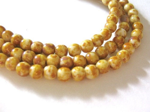 opaque white picasso 4mm round Czech glass bead