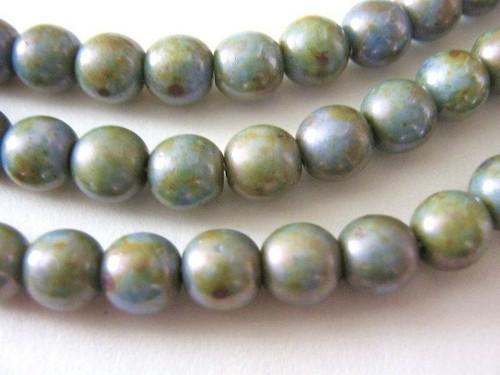 olivine picasso green 6mm round Czech glass bead