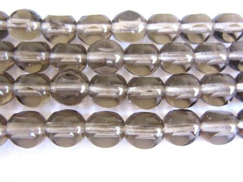 gray 8mm  3 cut round Czech glass bead