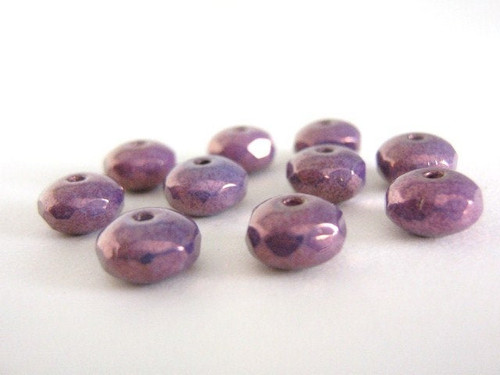 purple 7x4mm faceted rondelle czech glass bead