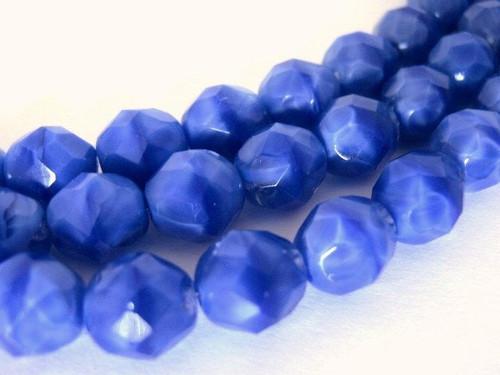 opaque blue 8mm faceted round Czech glass bead