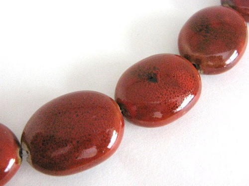Red 28x22mm flat oval porcelain beads