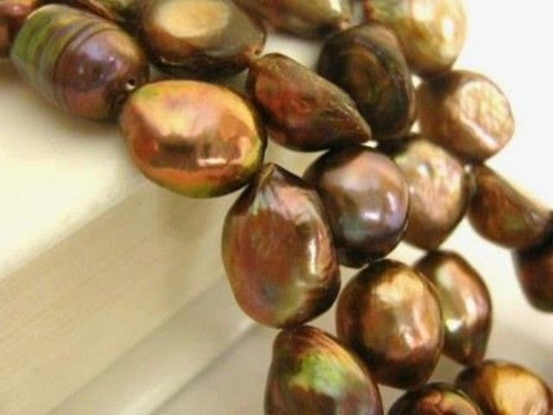 Brown copper peacock 9mm potato freshwater pearl beads
