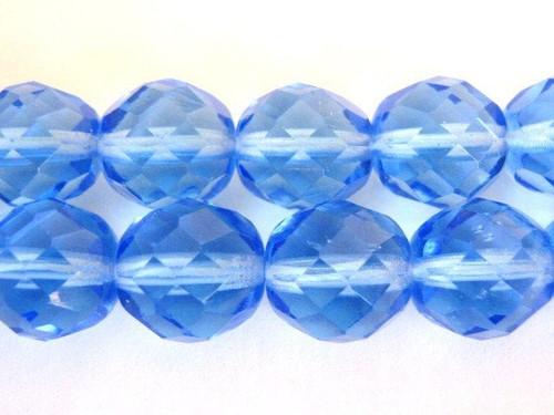 Blue 8mm faceted round Czech glass bead