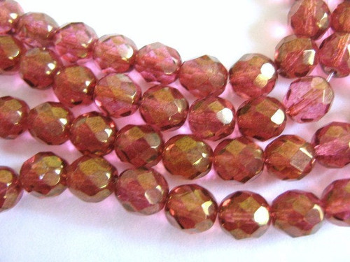 Lumi pink 8mm faceted round Czech glass bead