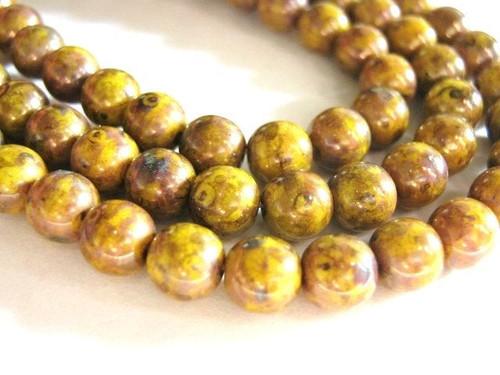 yellow bronze picasso 6mm round Czech glass bead