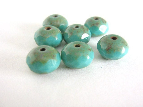 Opaque turquoise picasso 9x6mm faceted rondelle Czech glass bead