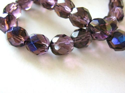Purple zarit 8mm faceted round Czech glass bead