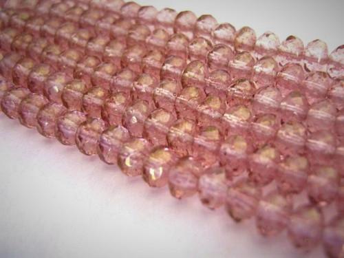 Lumi pink 5x3mm faceted rondelle Czech glass bead