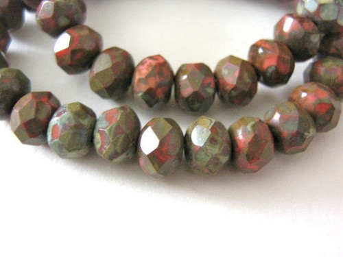 Orange picasso 6x4mm faceted rondelle Czech glass bead
