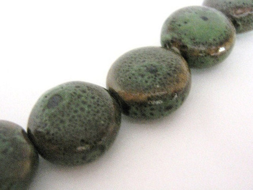 Green brown 14mm coin porcelain beads flat round