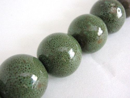 Green brown 22mm round porcelain beads