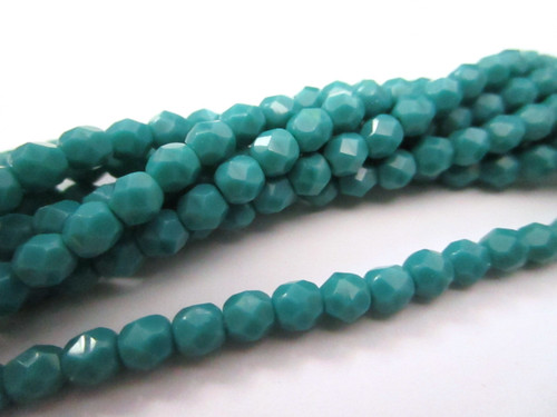Persian turquoise 4mm faceted round Czech glass bead