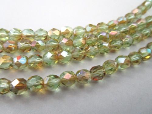 Green celsian 6mm faceted round Czech glass beads