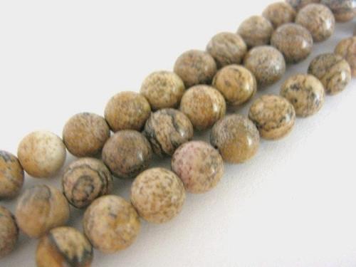 Picture jasper 8mm round gemstone beads