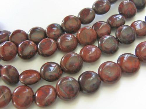 Red brecciated jasper coin 9mm flat round gemstone beads