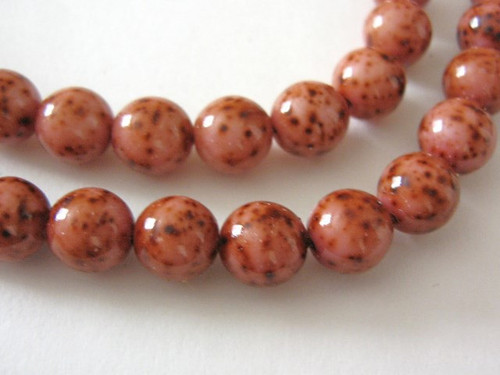 Pink picasso 8mm round Czech glass bead