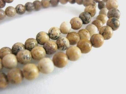 picture jasper 4mm round gemstone beads