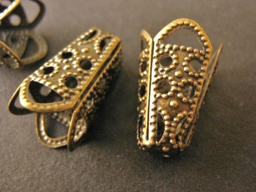Filigree cone bead cap 10x16mm antique bronze finish