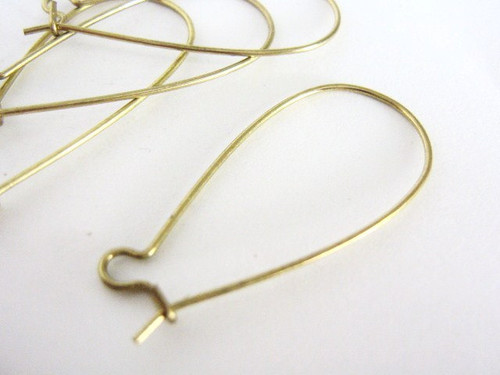 Brass kidney ear wire 37x17mm earring hooks