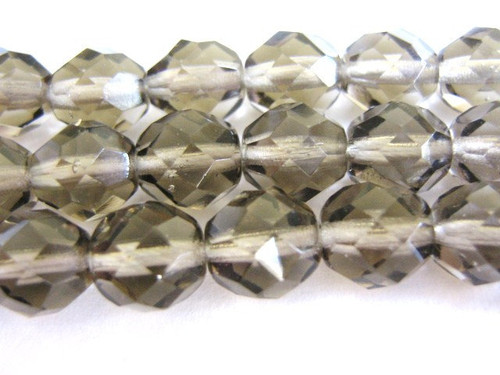 Gray 12mm faceted round Czech glass beads