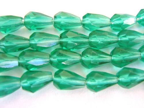 Teal 5x7mm faceted teardrop Czech glass beads