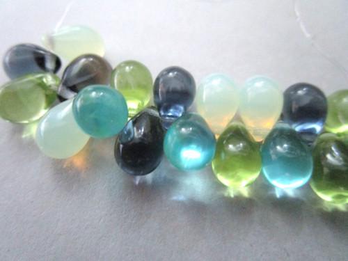Blue green white 9x6mm teardrop czech glass beads