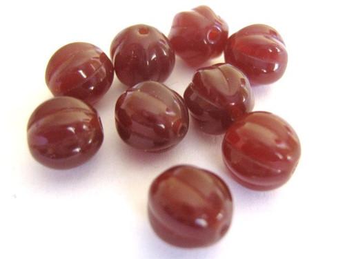 Brown 8mm melon Czech glass beads