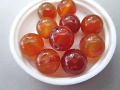Red agate 12mm Round Gemstone bead