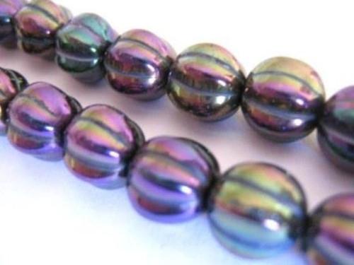 Iris purple 8mm melon Czech glass bead