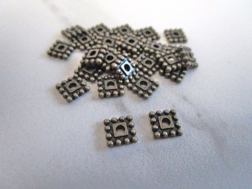 Metal square spacer beads 7mm antique bronze finish
