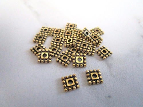 Metal square spacer beads 7mm antique gold finish