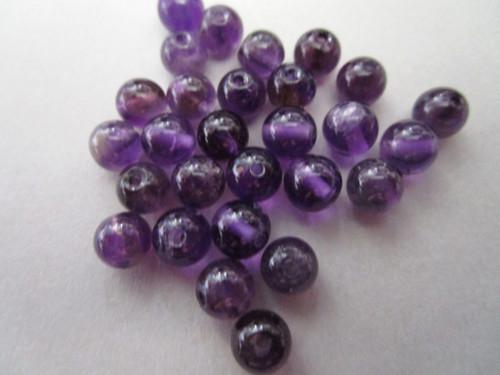 Amethyst 6mm round gemstone bead