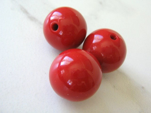 Red 20mm round acrylic beads