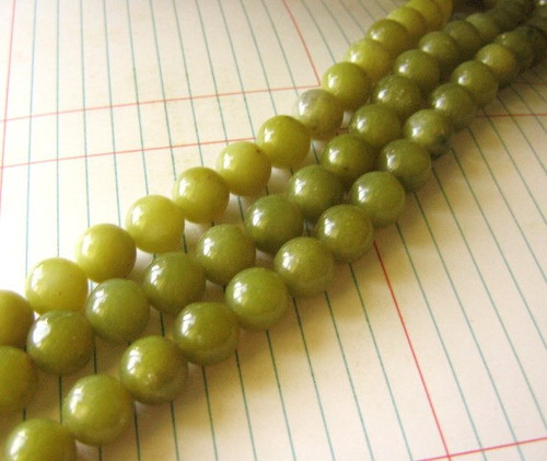 Olive jade 12mm round gemstone bead
