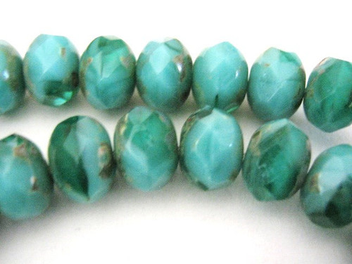 Green blue picasso 9x6mm faceted rondelle Czech glass beads
