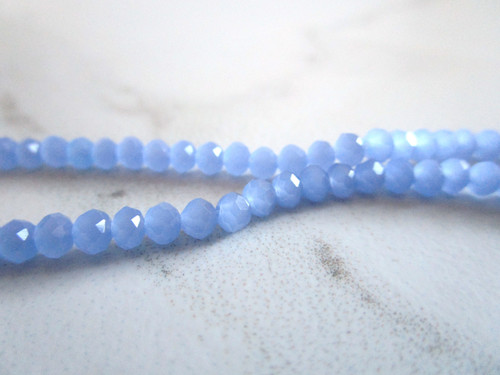 Blue 4x3mm faceted rondelle glass beads