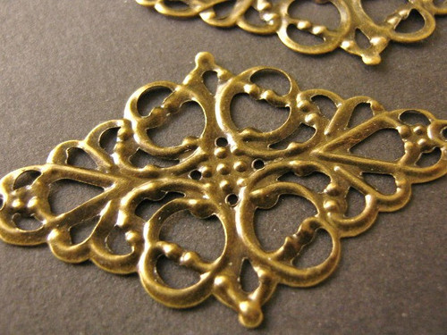 Filigree connector 29x50mm antique bronze finish stamping