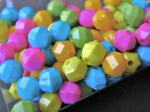 Assorted opaque 6mm faceted round acrylic beads