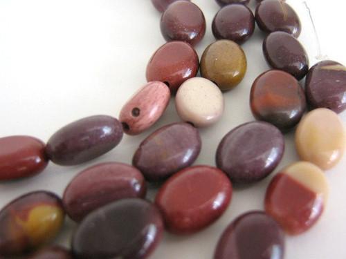 Moukaite flat oval gemstone beads