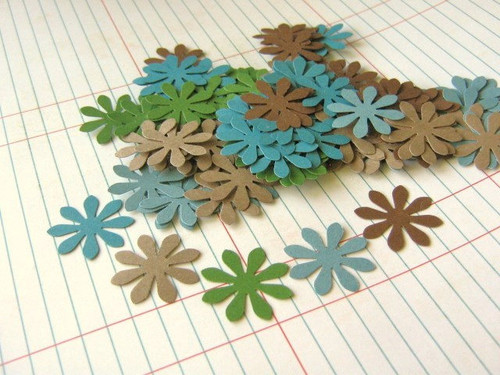 Confetti Flower Cut Outs 1 Inch Flower Die Cut Paper Green Brown Blue Scrapbooking