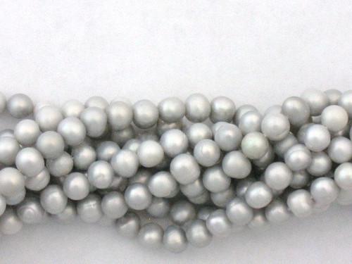 Silver 5mm potato freshwater pearl beads