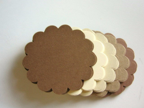 Scalloped Circle Die Cuts 2.5 Inch Brown Mix Paper Cardstock 65lb