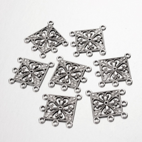 Flower chandelier earring setting 33x37mm antique silver finish