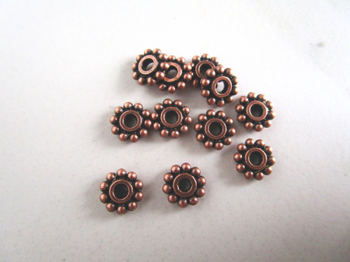 Daisy Spacer Beads 7mm Antique Copper Metal Snowflake