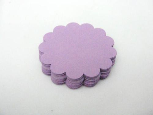 Purple 2.5 inch scallop circle die cuts