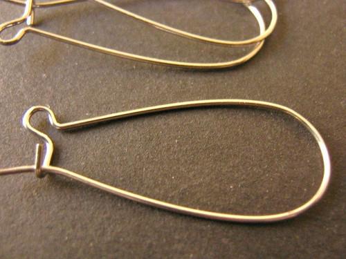 Silver tone 33x12mm kidney earring hooks