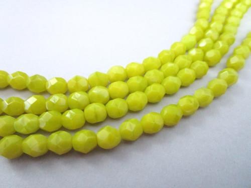 Chartreuse opaque green 4mm round czech glass beads