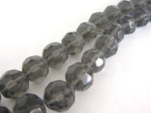 Gray 14mm faceted round glass bead