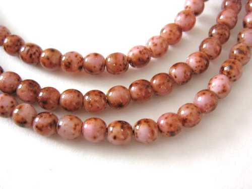Pink picasso 4mm round czech glass beads